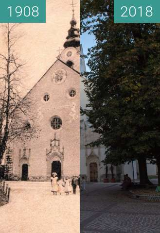 Before-and-after picture of St Peter's Church, Radovljica between 1908 and 2018-Aug-15