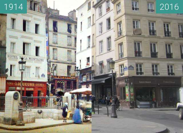 Before-and-after picture of Rue de la Montagne-Sainte-Geneviève between 1914 and 2016-Apr-21
