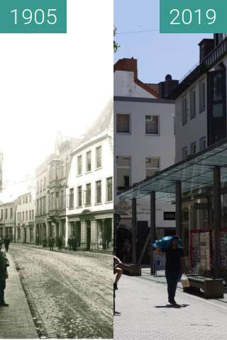 Before-and-after picture of Krahnstraße between 1905 and 2019-Jun-24