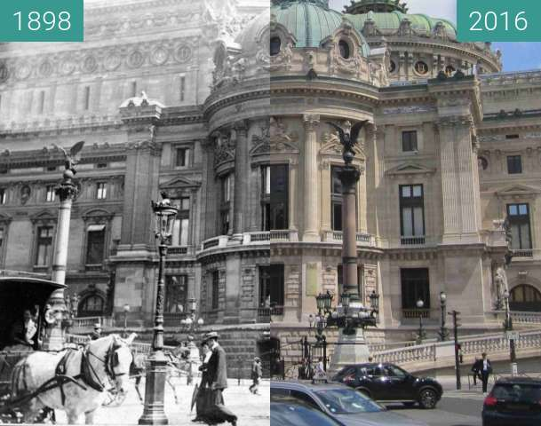Before-and-after picture of Opéra Garnier between 1898 and 2016-May-17