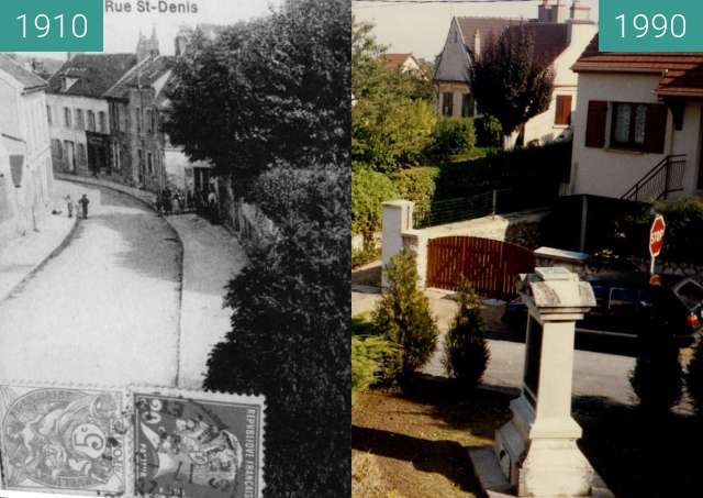 Before-and-after picture of monument Louis Braille between 1910 and 1990-Jan-28