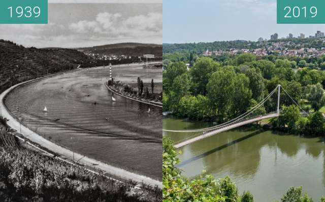 Before-and-after picture of Stuttgart - Neckar mit Max-Eyth-See between 1939 and 2019-Jul-06