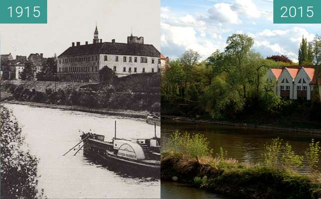 Before-and-after picture of Oder river with Castel (Oder Fluss mit Schloss) between 1915 and 2015