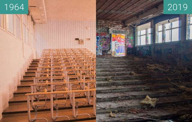 Before-and-after picture of Institut Dolomieu - L'Amphithéatre between 1964 and 2019-Oct-31