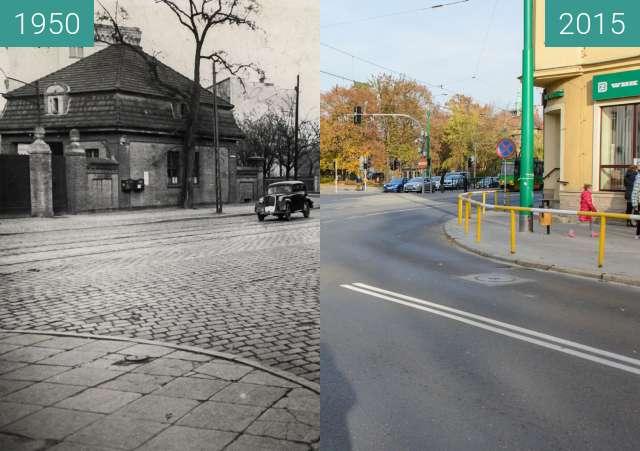Before-and-after picture of Skrzyżowanie ulic Szylinga/Grunwaldzkiej/Matejki between 1950 and 2015