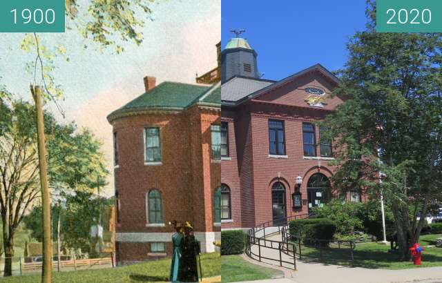 Before-and-after picture of City Hall - Belfast, Maine between 1900 and 05/2020