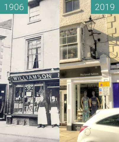 Before-and-after picture of Williamson & Dingle - Hardware Shop between 1906-Jul-26 and 2019-Jun-20