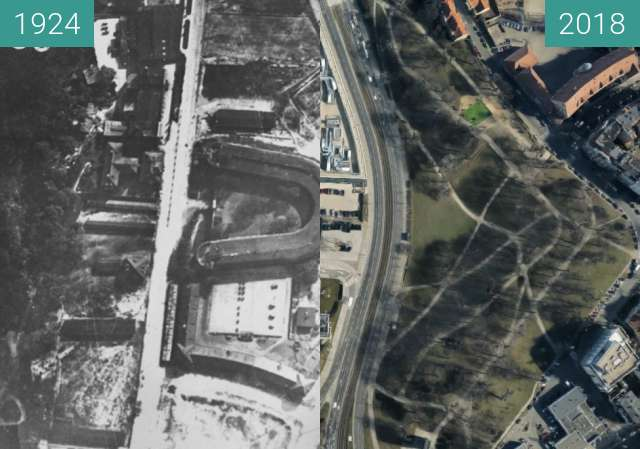 Before-and-after picture of Poznań between 1924 and 2018