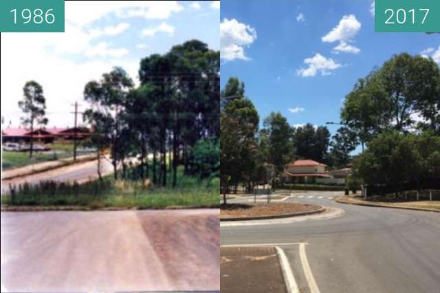 Before-and-after picture of Laycock Street, Cranebrook between 1986 and 2017