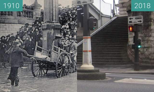 Before-and-after picture of Quai de Passy (Jahrhundertflut) between 01/1910 and 2018-Jan-28