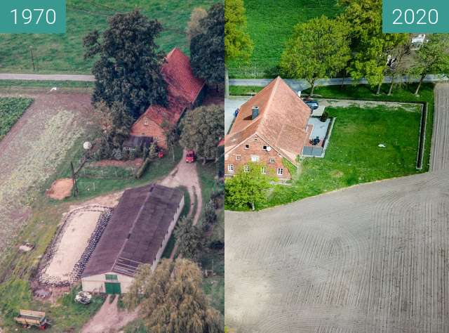 Before-and-after picture of Der Hof Temme-Pille in Aschendorf between 1970 and 2020-Apr-25