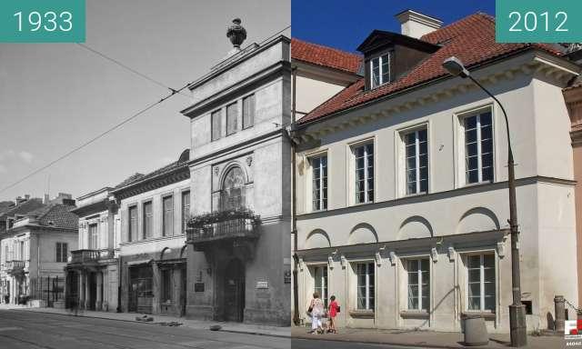 Vorher-Nachher-Bild von Szaniawskich Palace in Warsaw zwischen 1933 und 2012