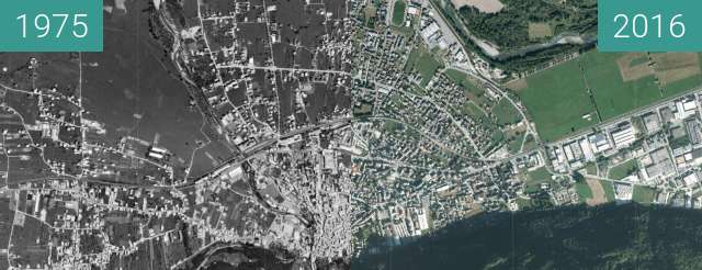 Before-and-after picture of Morbegno between 1975 and 2016