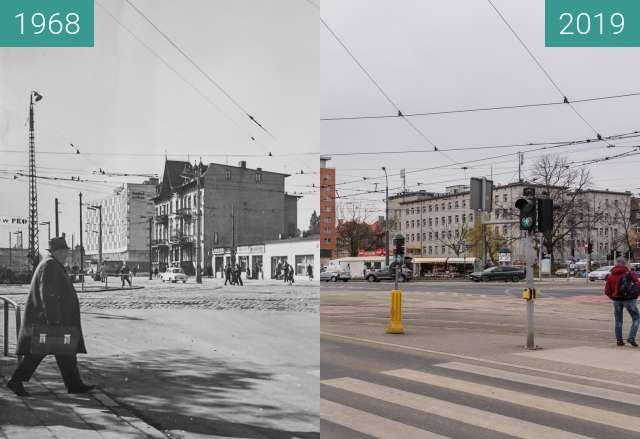 Before-and-after picture of Ulica Roosevelta, Teatralka between 1968 and 2019-Mar-07