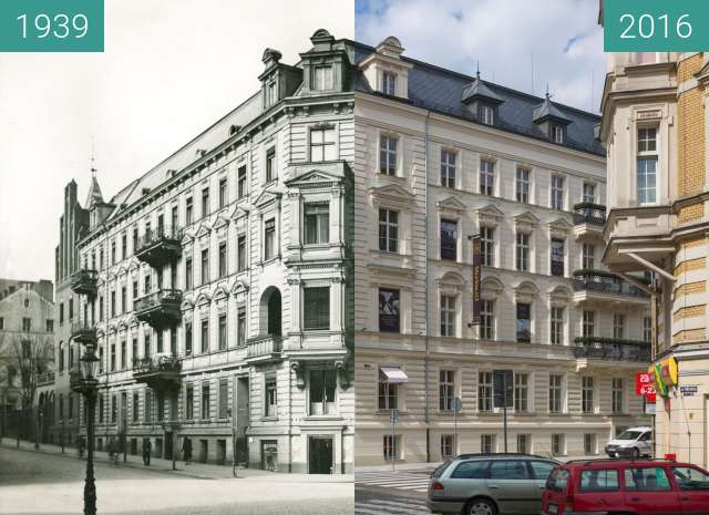 Before-and-after picture of Ulica Młyńska between 1939 and 2016-Jul-31