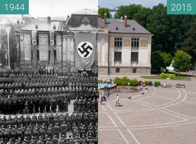Before-and-after picture of Nazi Army in Kraków between 1944 and 2015