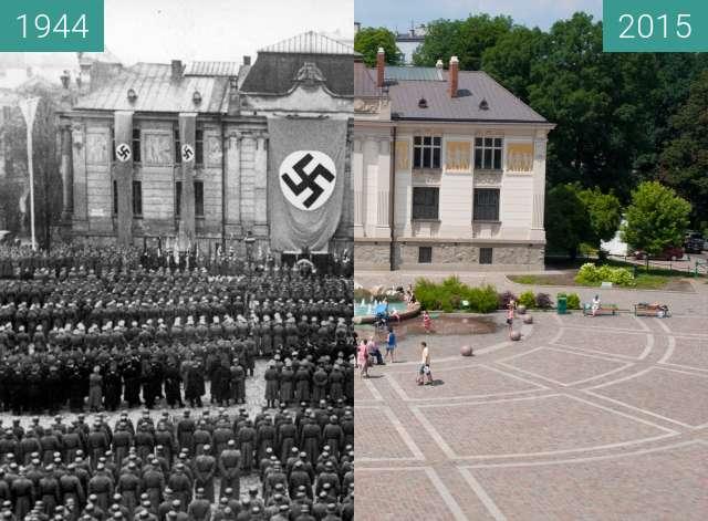 Vorher-Nachher-Bild von Nazi Army in Kraków zwischen 1944 und 2015