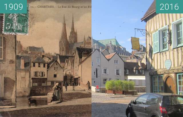 Before-and-after picture of Chartres between 1909 and 2016-Oct-09