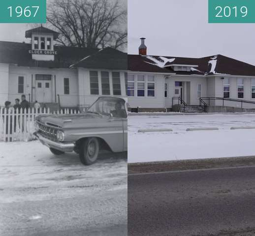 Before-and-after picture of Elder Grover School 1967 between 1967 and 2019