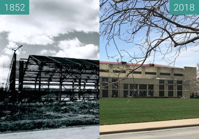 Before-and-after picture of Exterior Allen Field House between 1852 and 04/2018