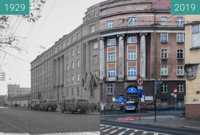 Before-and-after picture of Ulica Grunwaldzka, Hotel Polonia between 1929 and 2019-Jan-12