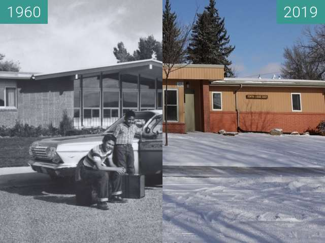Before-and-after picture of Fortin Lodge on YBGR campus 1960's & 2019 between 1960 and 2019-Feb-05