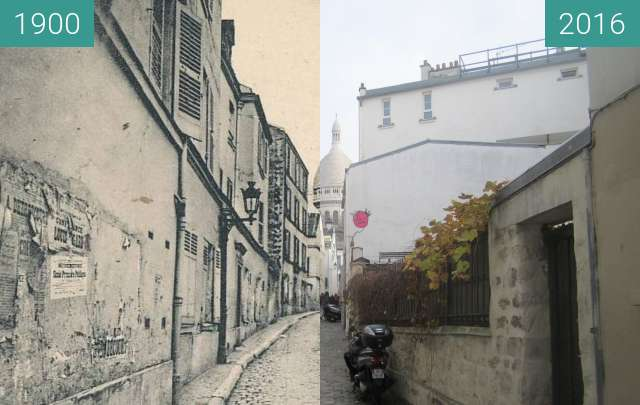 Before-and-after picture of Rue St. Rustique between 1900 and 2016-Nov-27