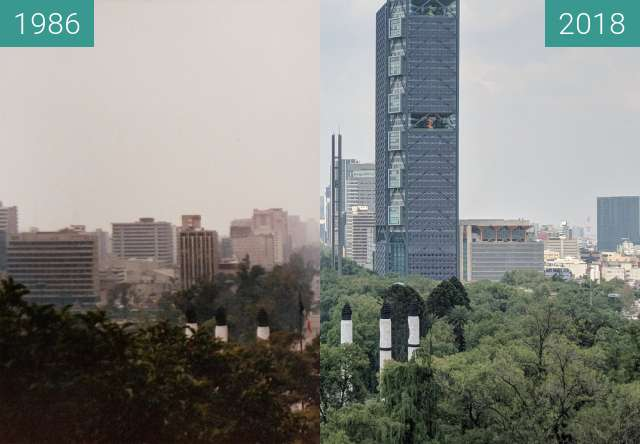 Before-and-after picture of Looking up Paseo de la Reforma from Chapultepec Ca between 06/1986 and 2018-Jun-26