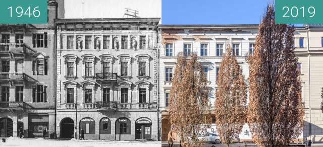 Before-and-after picture of Aleje Karola Marcinkowskiego between 1946 and 2019-Feb-16