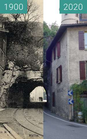 Before-and-after picture of Vizille, tunnel between 1900 and 08/2020