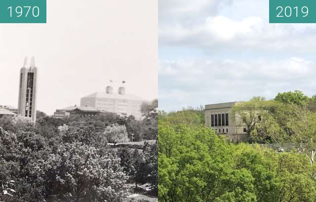 Before-and-after picture of KU Campus from JRP between 1970 and 2019-May-02