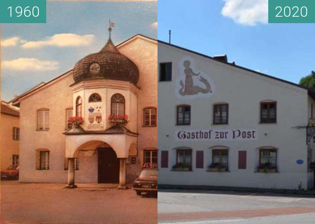 Before-and-after picture of Gasthof Altenmarkt between 1960 and 2020