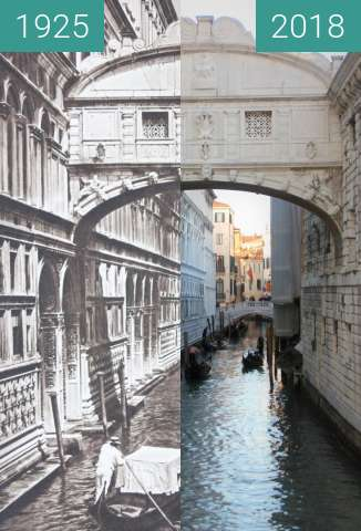 Before-and-after picture of Bridge of Sighs in Venice by Kurt Hielscher, 1925 between 1925 and 2018-Feb-13