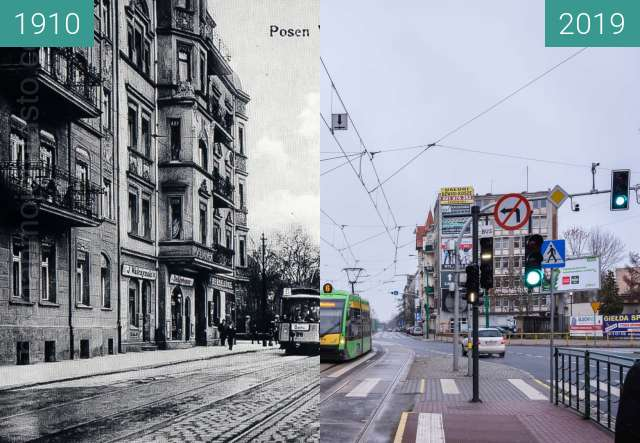 Before-and-after picture of Ulica Grunwaldzka between 1910 and 2019-Jan-12