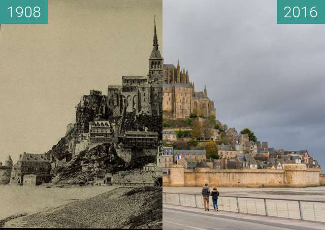 Before-and-after picture of Horse cart and steam locomotive at Mont-St.-Michel between 1908 and 2016-Nov-17