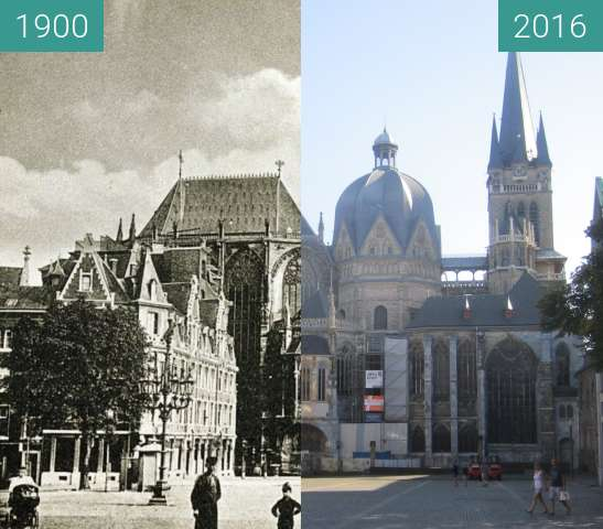 Before-and-after picture of Aachen Cathedral between 1900 and 2016-Sep-10