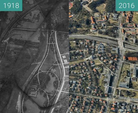 Before-and-after picture of Sołacz, Poznań between 1918-Apr-09 and 2016