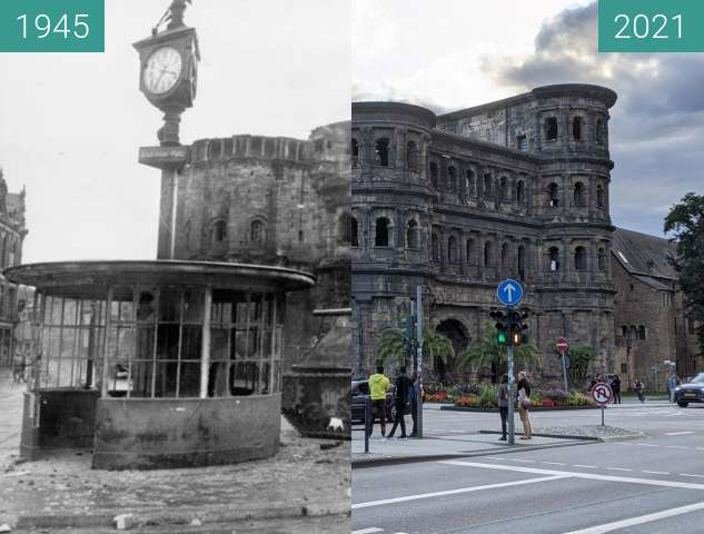 Before-and-after picture of Trier between 1945 and 2021-Aug-09