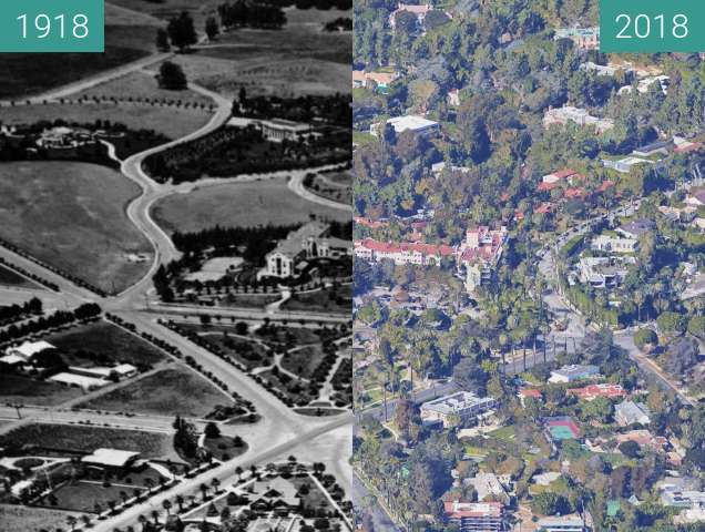 Before-and-after picture of Beverly Hills Hotel between 1918 and 2018