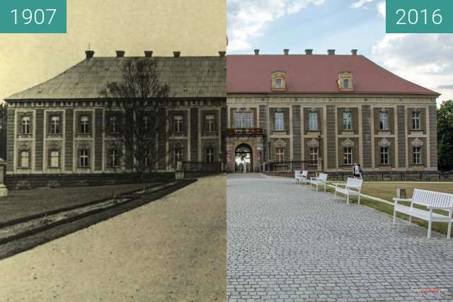 Before-and-after picture of Pałac Książęcy between 1907 and 2016