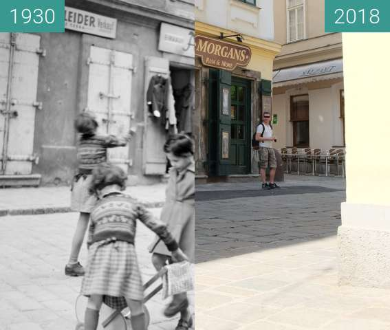 Before-and-after picture of Judengasse 11 between 1930 and 2018-Apr-30