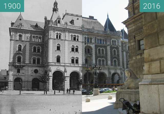 Before-and-after picture of Drechsler-palota between 1900 and 2016