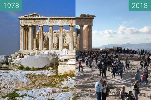 Before-and-after picture of Back view of the Parthenon of the Acropolis between 1978-Apr-01 and 2018-Oct-28