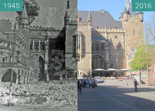 Before-and-after picture of Aachen Rathaus between 1945 and 2016-Sep-10