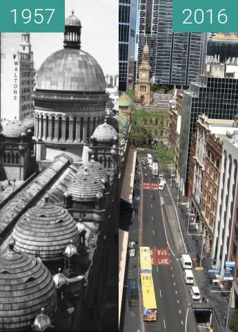 Before-and-after picture of Queen Victoria Building 1960's and 2016 between 1957 and 2016