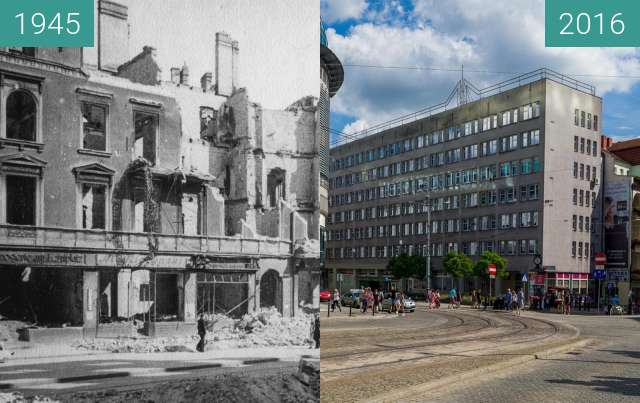Before-and-after picture of Plac Wiosny Ludów between 1945 and 2016
