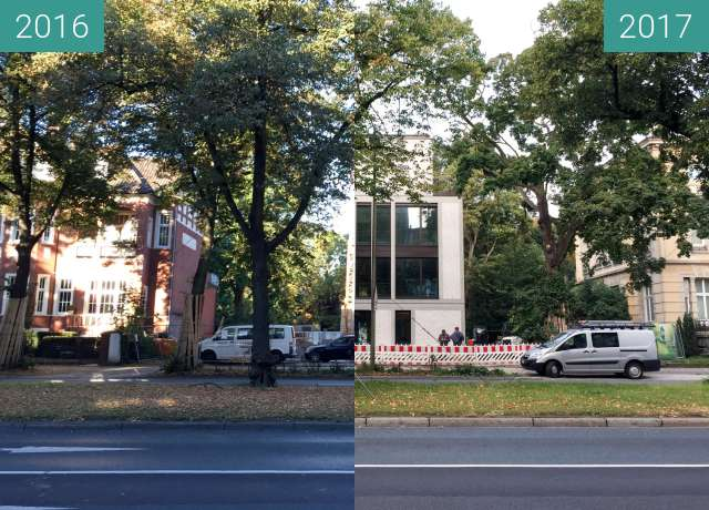 Before-and-after picture of Heger-Tor-Wall between 2016-Aug-31 and 2017-Aug-31
