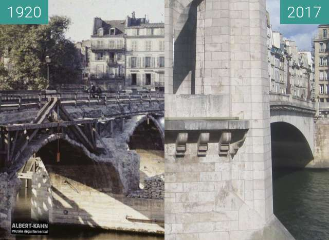 Before-and-after picture of Pont de la Tournelle between 1920-Jun-09 and 2017-Sep-30