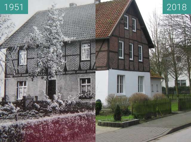 Before-and-after picture of Elternhaus meiner Mutter between 1951-Jun-30 and 2018-Jan-06