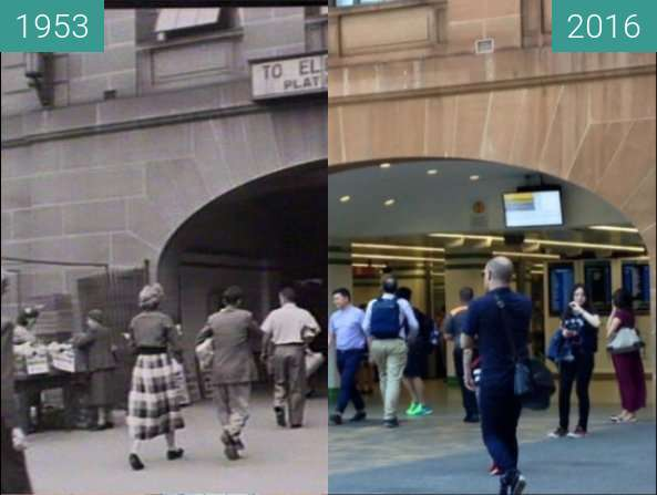 Before-and-after picture of Eddy Avenue Entrance to Central Station between 1953 and 2016